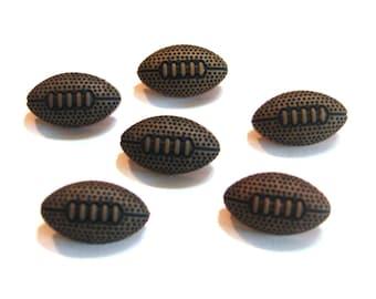 "Mini Football Buttons 5/8"" Tiny Sports Equipment Dress It Up Buttons Jesse James Buttons Set of 6 Shank Flat Back Choice Craft Supply- 901 D"