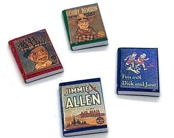 Miniature Children Books Collection Set of 4 Dollhouse Child Toy Home Decor Miniatures - 582
