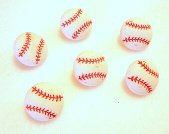 "Mini Baseball Buttons (1/2"") Tiny Sports Equipment Dress It Up Buttons Jesse James Buttons Set of 6 Shank Flat Back Choice - 884 B"