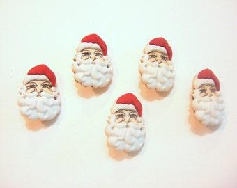 Santa Buttons Face Jesse James Buttons Waiting for Santa Dress It Up Buttons Set of 5 Shank Back - 661 B