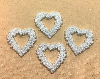 Bridal Hearts Embellishments White Roses Jesse James Dress It Up Buttons Flat Back Craft Supply - 852 A W104