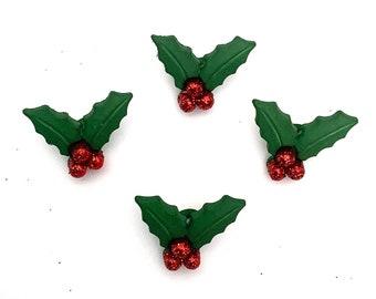 Holly Buttons Glitter Berries Shank Flat Back Choice - 1185 H