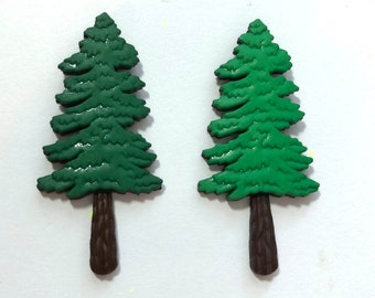 Evergreen Tree Embellishments The Great Outdoors Flat Back Jesse James Dress It Up Buttons - 1478