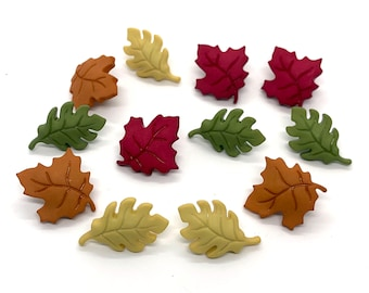 Fall Leaves Buttons Galore Collection Leaf Set of 12 Shank Flat Back Choice - 1493