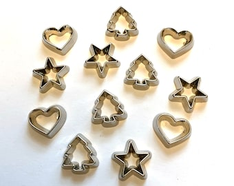 """Mini Cookie Cutter Collection (1/2"""") Embellishments Set of 12 Flat Back Christmas Holiday Treats Dress It Up Jesse James Buttons - 1305"""