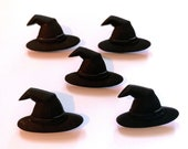Halloween Witch Hat Buttons Spooktacular Shank Flat Back Choice Set of 5 Dress It Up Buttons Jesse James Buttons Craft Supply - H122
