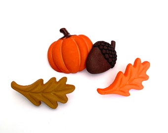 Autumn Buttons Collection Fall Icon Pumpkin Leaf Acorn Set of 4 Shank Flat Back Choice - 1185 E