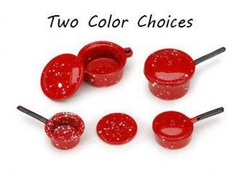 Miniature Pots Pans & Lids Color Choice Set of 8 Spatter Ware Dollhouse Food Kitchen Home Decor Miniatures - 469