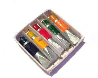 Miniature Art Supplies Artist Paint Tubes Dollhouse Miniatures 1:12 Scale - 336