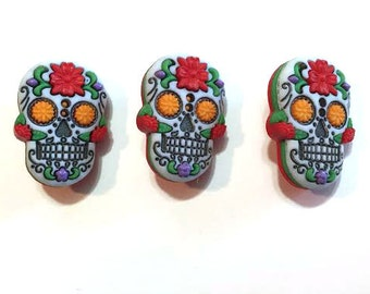 Halloween Sugar Skull Buttons Shank Back Color Choice Dia De Los Muertos Day of the Dead Jesse James Dress It Up Buttons - 1487