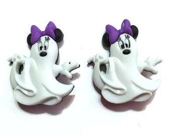 Minnie Mouse Ghosts Buttons Mickey And Minnie Halloween Shank Back Jesse James Dress It Up Buttons Licensed - H120