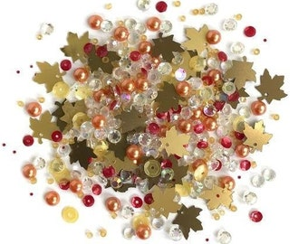 Fall Foliage Embellishments Collection Buttons Galore Sparkletz Craft Supply - 1183 A