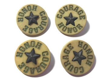 Military Hero Badge Buttons COURAGE HONOR Shank Back Blumenthal Flair - 1320