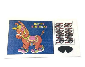 Miniature Birthday Game Pin The Tail On The Donkey Dollhouse Toy Home Decor Miniatures - 1100