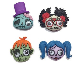 Zany Zombies Buttons Collection Halloween Set of 4 Shank Back Google Eyed Sugar Skull Frankenstein Dress It Up Jesse James Buttons - H111