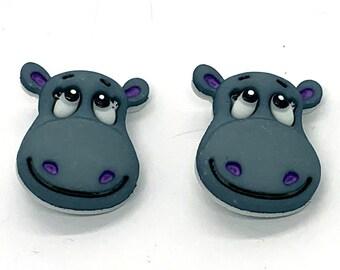 Hippo Buttons Hippopotamus Shank Back - 218