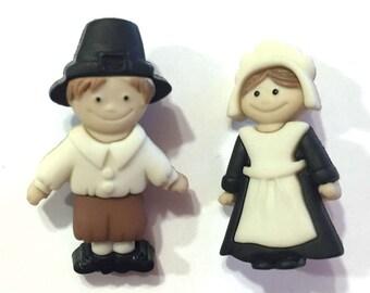 Pilgrim Buttons Boy Girl Set Thanksgiving Jesse James Buttons Pilgrims & Indians Dress It Up Buttons Set of 2 Shank Back Autumn Fall - 690