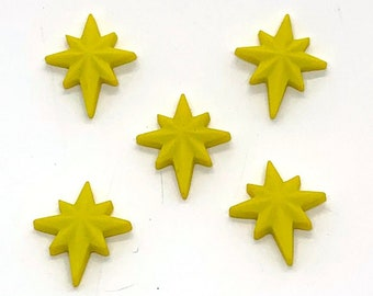 Christmas Star Buttons Shank or Flat Back Choice Jesse James Dress It Up Buttons - 1506