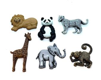 Zoo Cuties Shank Buttons Jesse James ~ Hippo ~ Elephant ~ Monkey ~ Zebra
