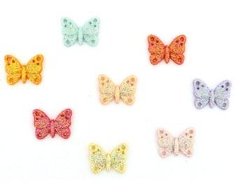 Dress It Up Pastel Butterfly Buttons by Jesse James Flat Back w Glitter