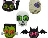 Halloween Button Collection Jeepers Peepers Set of 5 Shank Back Dress It Up Buttons Jesse James Buttons Frankenstein Cat Bat Mummy - H110