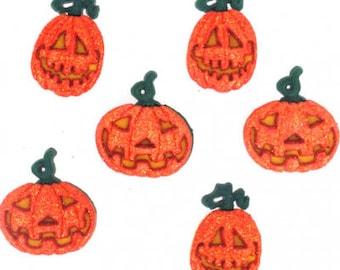 Glitter Pumpkins Halloween Buttons Collection Set of 6 Shank Back Jesse James Dress It Up Buttons - H113