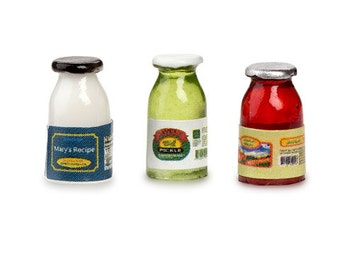 Miniature Condiments Food Collecetion Dollhouse Kitchen Food Miniatures Set of 3 Mayonnaise Pickles Ketchup - 509