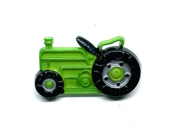 Green Tractor Buttons Set of 1 Shank Back Buttons - 1175 H