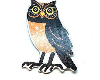Miniature Halloween Owl Embellishments Wood Flat Back HBOX 1