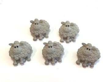 Sheep Lamb Buttons Funny Farm Dress It Up Buttons Jesse James Buttons Set of 5 Shank Flat Back Choice Craft Hair Scrapbook Supply - 765 D