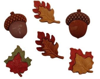 Season Of Change Buttons Galore Collection Maple Oak Leaves Acorns 3D Set of 6 Shank Back - 559