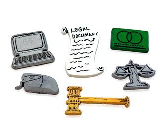 Legal Collection Set of 6 Flat Shank Back Choice Laptop Mouse Gavel Scales of Justice Credit Card Color Will Vary - 3 A B C 2 W139 W141