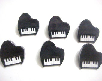 Piano Buttons Music Dress It Up Buttons Jesse James Buttons Set of 6 Shank Back Craft Hair Card Making Scrapbook Supply - 170