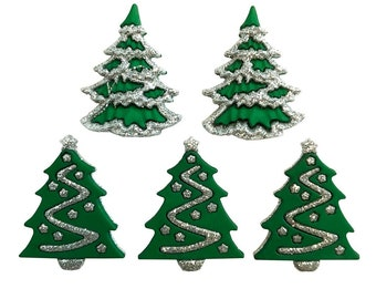 Glitter Christmas Trees Buttons Galore Collection Set of 5 Shank Back - 1022