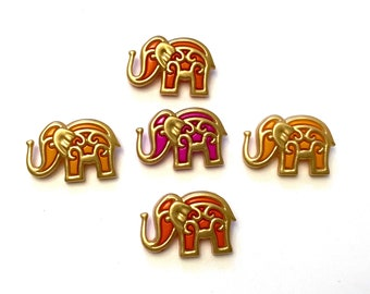 Bollywood Elephant Button Collection Set of 5 Shank Back India Jesse James Buttons - 1479 A
