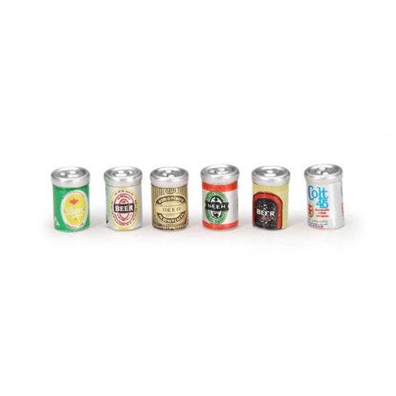 Dollhouse Miniature Set of 6 Beer Cans