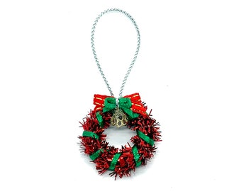 Miniature Christmas Red Door Wreath Dollhouse Holiday Home Decor Miniatures - 496