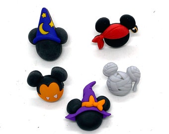 Disney Mickey And Minnie Halloween Hats Buttons Collection Set of 5 Shank Back Jesse James Dress It Up Buttons Licensed - H105