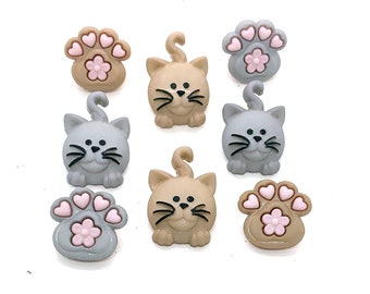 Happy Kitties Buttons Collection Cat Paws Set of 8 Shank Back or Flat Back Choice Jesse James Dress It Up Buttons - 807 B