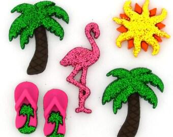 Summer Button Collection Set of 6 Shank & Flat Back Summer Bliss Jesse James Dress It Up Buttons Palm Tree Flamingo Flip Flops- 1441 1332