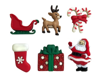 Christmas Eve Buttons Galore Collection Set of 6 Shank Back Santa Sleigh Rudolph Candy Canes Presents Gifts Stockings - 690