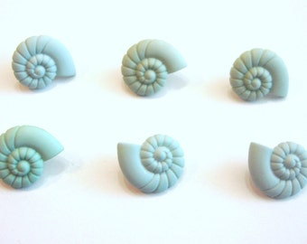Sea Shell Buttons Snail Turquoise Ocean View Dress It Up Buttons Jesse James Buttons Seashells Set of 6 Shank Flat Back Choice Craft - 124
