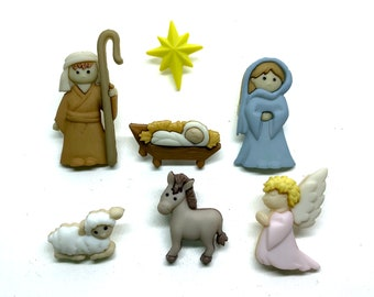 Nativity Buttons Collection Set of 7 Shank Back Joseph Mary Angel Baby Jesus Christmas Star Jesse James Dress It Up Buttons - 1505 1506