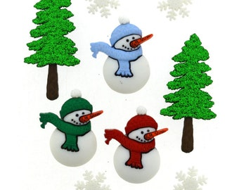 Snowman Button Collection Have A Cool Yule Set of 9 Shank Back Snowmen Tree Snowflakes Christmas Jesse James Dress It Up Buttons - 1315