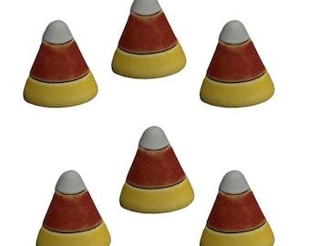 "Candy Corn Buttons Galore (3/4"") Halloween Set of 6 Shank Back 3D MATTE FINISH - H103 B"