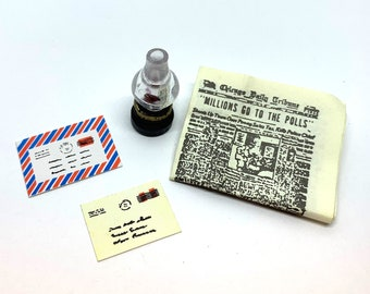 Miniature Oil Lamp Newspaper & Mail Collection Set of 4 Dollhouse Office Home Decor Miniatures - 1162 F