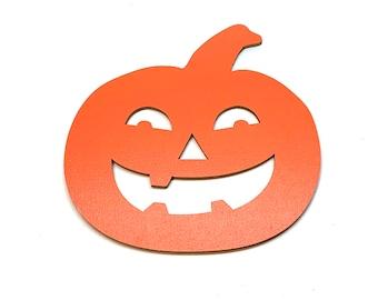 Miniatures Halloween Pumpkin Embellishments Jack O Lantern Wood Flat Back HBOX 2