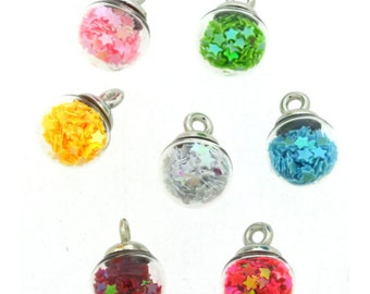 Rainbow Mini Bubbles Collection Set of 7 Jesse James Buttons Loop Round Ball (COLORS WILL VARY) - 1429 B