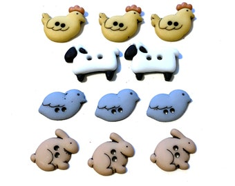 Country Critters Farm Animal Buttons Collection Sew Thru Jesse James Dress It Up Buttons Lamb Chicken Bird Rabbit - 1280