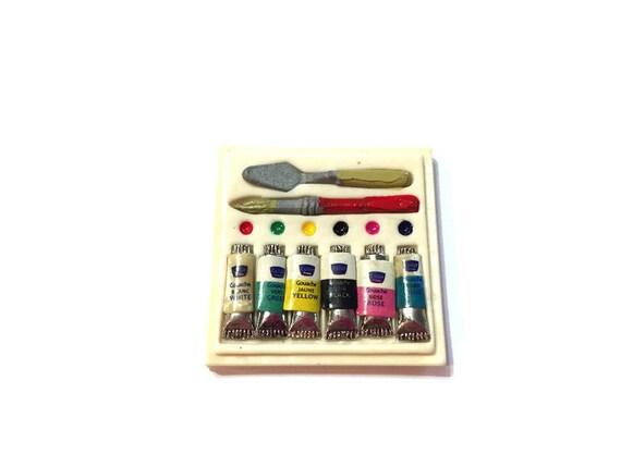 Miniature Art Supplies Dollhouse Artist Paint Tubes Palette Etsy